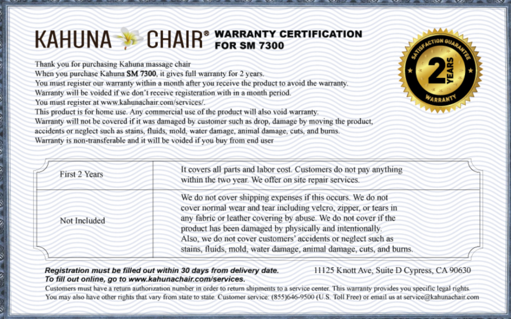 kahuna sm 7300 massage chair warranty