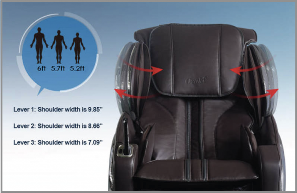 massage chair shoulder height diagram