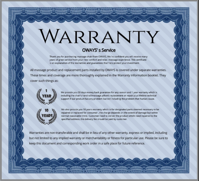 oways massage chair warranty