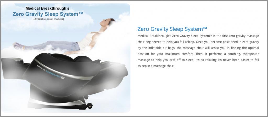 medical breakthrough 6 v4 zero gravity sleep system